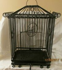 Black Wrought Iron Vintage Metal Bird Cage