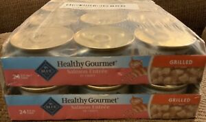 24-count, 3.0 oz Cans Blue Grilled  Salmon in Gravy Healthy Gourmet Wet Cat Food