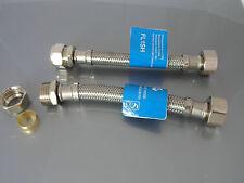 PAIR SHORT 15CM FLEXIBLE TAP CONNECTOR 15mm