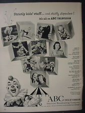 1951 ABC Television Clown Cowboy mentions diff Shows Vintage Print Ad 12543