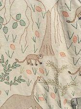 Incredible Vintage Hand Embroidered Folk Art Figural Bedspread Needlepoint OOAK