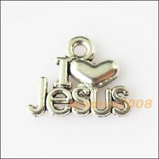 12 New I Love Jesus Heart Tibetan Silver Tone Charms Pendants 13x16mm