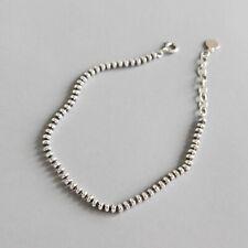 Vintage Simple Beads Bracelet for Women Solid 925 Sterling Silver Fine Jewelry