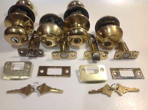 2 used Schlage F51 Keyed Entry Locks & 2 Single cylinder Dead Bolts