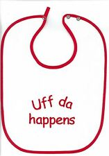Uff da Happens Baby Bib on Red