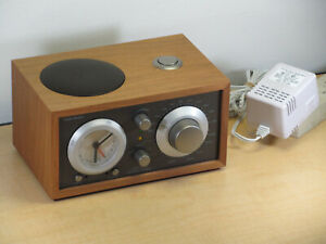 Tivoli Audio Model Three FM/AM Clock Radio Cherry Wood w/AC Adapter WORKS GREAT