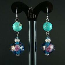 Handmade Turquoise Glass Sterling Silver Fashion Earrings