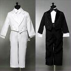 Black White tuxedo with tail for toddler teen boy communion ring bearer recital