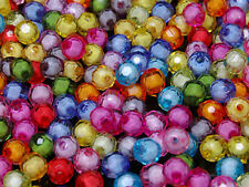 T125 Acrylic Faceted Round Beads DIY Jewellery Making 100pcs