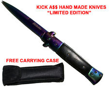 Rainbow Stiletto Pocket Knife w/ Case Spring Assisted Opening Stilleto Knives