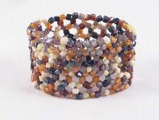 New Glass Bead Stretch Bracelet With Rich Earth Tone Beads #B1209