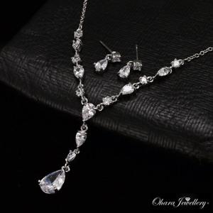 18K White Gold Cubic Zirconia Teardrop Necklace & Earrings Wedding Set Jewellery