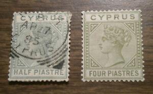 British Europe: Cyprus - Scott's # 19 & 23   - from 1882 to 1884