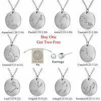 12 Constellations Pendant Necklace Stainless Steel Choker Zodiac Unisex Jewelry