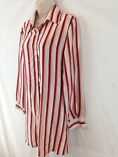 Tuileries Garden Womens M Red Candy Cane Stripe Button Front Silk Tunic Shirt
