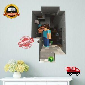 Minecraft Wall Stickers Cartoon 3D Kids Rooms Mural Poster 3D Popular Game Decor