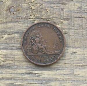 1852 Quebec Bank Token Half Penny Canadian Token Better Grade