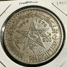 1955 MOROCCO SILVER 500 FRANCS  LARGE CROWN COIN