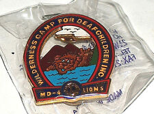 NEW Wilderness Camp For Deaf Children Inc. CAL NEV MD-4 Lions Club Pin Button