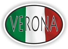 Verona OVAL WITH ITALIAN FLAG STICKER ITALY ITALIA AUTO MOTO TRUCK LAPTOP
