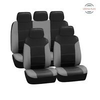 Toyota Prius 2012+ 9 Pcs Full Set Grey Black Leather Look Seat Covers