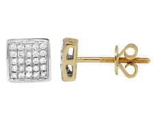 Men's Ladies 10K Yellow Gold Genuine Diamond Square Studs Earrings .25ct 6MM
