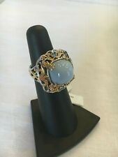 Gems En Vogue Michael Valitutti Indian Blue Opal Ring 18K Palladium Size 5