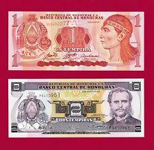 SET OF 2 GEM-UNC HONDURAS NOTES - 1 LEMPIRA 2006 (P-84) & 2 Lempiras 2004 (P-80)