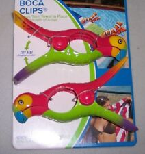 One set of 2 Towel Boca Clips Parrots