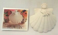 "Margaret Furlong 1998 Sea Shell Angel with Flower Porcelain Bisque 3"" Ornament"