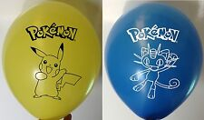"10 Pokemon Pikachu Meowth Blue Yellow Printed Latex Childrens Party 12"" Balloons"