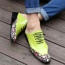 Mens Patent Leather Floral Closed Toe Flats Slippers Casual Slip On Mules Shoes