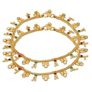 Indian Bollywood Gold Plated Multi CZ Stone Women Fashion Jewelry Anklets