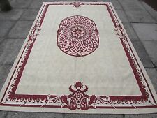 Old Hand Made French Design Wool Red Original Aubusson 287X184cm 9x6
