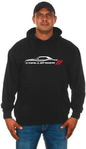 Dodge Challenger Pullover Hoodie Mens Printed Silhouette Logo CHL9P3BSS9-BLK