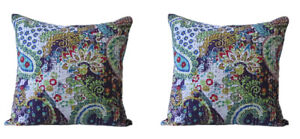 Indian Handmade Kantha Work Cushion Pillow Cotton Cover Set of 2 Home Decorative