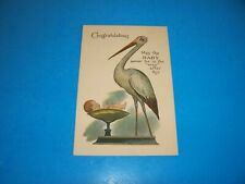 Antique  postcard  STORK Congratulations baby on scale unused