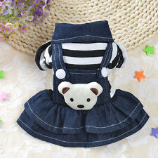 Stripes Jean Pet Dog Clothes Overalls Dress Small Cat Jumpsuit Hoodie Girl Boy