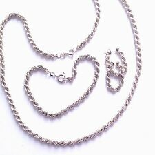 VINTAGE 1983 STERLING SILVER TWIST ROPE NECKLACE BRACELET & EARRINGS LOT / SET