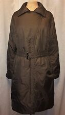 JESSIE G- Brown, Belted, Dropped-Zipper, Med Weight, Long Puffer Trench Coat - L