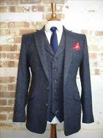 Men's Blue Tweed Suit Vintage Wedding Prom Suit Blazer Groom Tuxedos Suit Custom