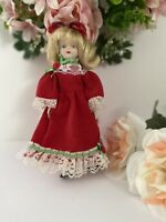 "Vintage Porcelain 8"" Doll with Long White/Red Lace Dress Blond Blue Eyes Bloomer"