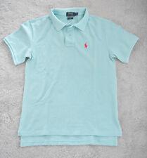 Polo Ralph Lauren Pique Boyfriend Polo T-Shirt Turquoise Blue Albatross Small