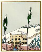 1930s French Pochoir Max Ninon Print Old Mansion House Victorian Man Woman (L)