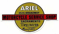 SACRAMENTO MOTORCYCLE SHOP Vinyl Decal Sticker TRIUMPH HARLEY DAVIDSON ARIEL BSA
