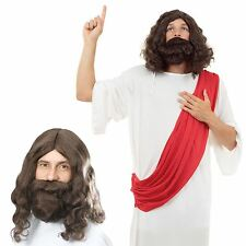 Jesus Costume With Wig Beard Religious Mens Fancy Dress Christmas Adult Easter