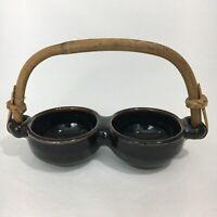 Unique Double Serving Bowl with Wooden Handle use w/ sushi sauces condiments etc