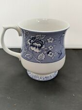 Vintage-Style China Footed Coffee Cup Queens Albertine Blue and White