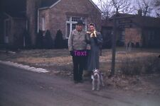 Red Kodachrome 35mm Slide - Couple with Irish Terrier? Zornow's Live Here