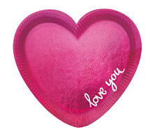 "Party-Teller / Papp-Teller ""LOVE YOU"" Herzform pink - 12 Stück"